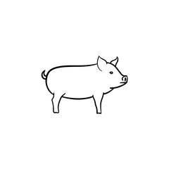 Pig hand drawn outline doodle icon. Piglet for barbecue vector sketch illustration for print, web, mobile and infographics isolated on white background.