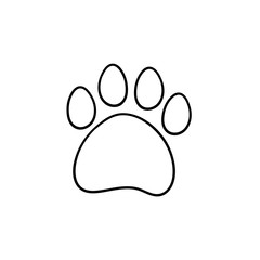 Paw print hand drawn outline doodle icon. Bear paw print vector sketch illustration for print, web, mobile and infographics isolated on white background.