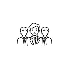 Group of people, team members hand drawn vector outline doodle icon. Work group sketch illustration for print, web, mobile and infographics isolated on white background.