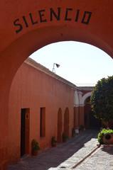 Painted walls and doorways in the Santa Catalina monastery, Arequipa, Peru