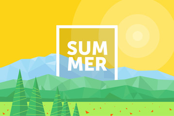 Vector flat illustration of a modern summer landscape, abstract fantastic nature background and mountains of triangles