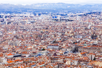 MARSEILLE, FRANCE, on March 2, 2018. A picturesque panoramic view of the city from a survey site