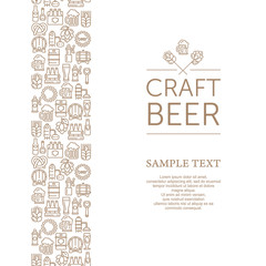 Vintage banner for craft brewery, linear icons and text. Vector