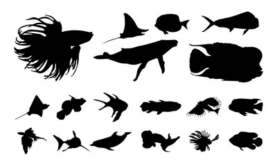 Various of Fish silhouette vector
