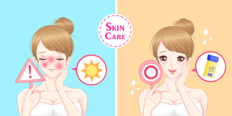 woman with sun protection concept