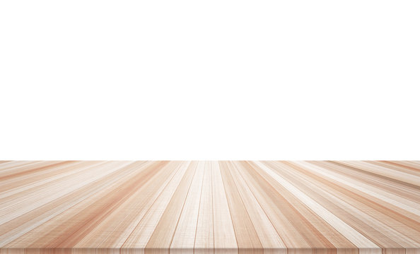 Design concept - Empty wood table top isolated on white background for display or montage product