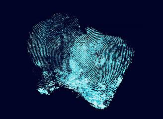 Two fingerprints with ultraviolet lamp