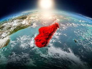 Madagascar in sunrise from orbit