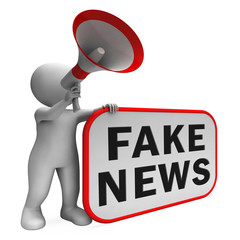 Fake News From Character With Megaphone 3d Illustration