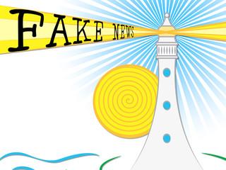 Fake News Lighthouse Light Beam 3d Illustration