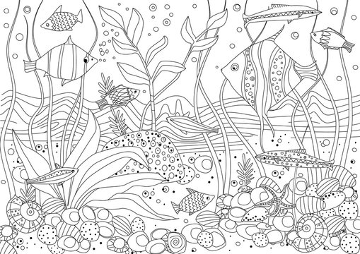 fish tank with seaweed and rock stones for your coloring book