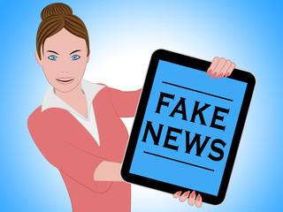 Woman Holding Fake News Tablet 3d Illustration