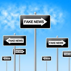 Fake News One Way Signs 3d Illustration