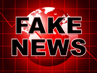 Fake News Globe In Red 3d Illustration
