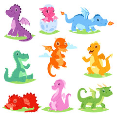 Cartoon dragon vector cute dragonfly or baby dinosaur illustration set of dino characters from from kids fairytale isolated on white background