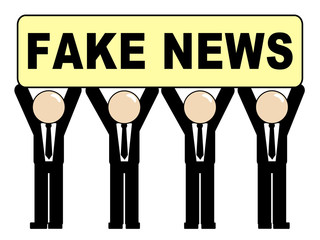 Characters Holding A Fake News Sign 3d Illustration