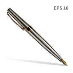 A realistic ballpoint pen, in a melallic, silver color, with gold details. Isolated on white background with soft shadow, vector illustration.