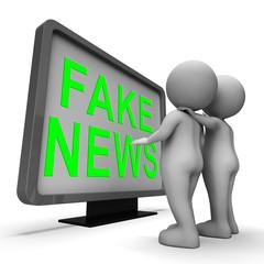 Fake News Computer Screen Means False 3d Illustration