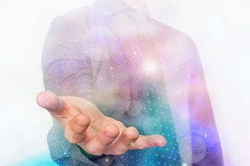 Magic hand with a mystical shine around