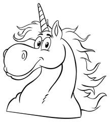 Black And White Magic Unicorn Head Classic Cartoon Character. Illustration Isolated On White  Background