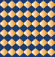 Moroccan pattern seamless of blue and gold tones