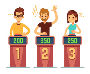 People answering questions and pressing buttons on quiz show. Conundrum game competition vector concept