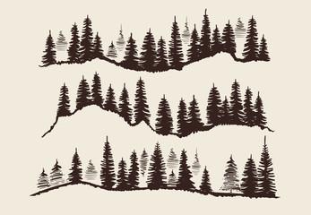 Vintage engraving forest. Doodle sketch fir-trees vector set