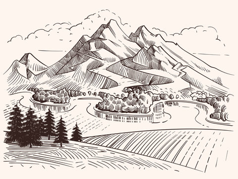 Pencil drawing mountain landscape. Cartoon sketch mountains and fir trees vector illustration