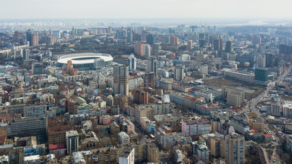 Kiev, Ukraine - April 7, 2018: Aerial photo of the Olympic Stadium in the city of Kiev on a cloudy day