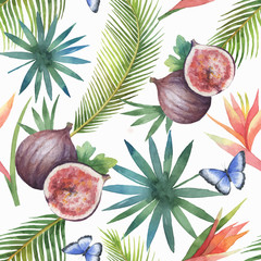 Watercolor vector seamless pattern of figs and palm trees isolated on white background.