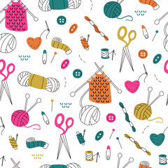 Seamless Pattern with Needlework Doodle on White Background.