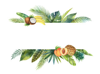 Watercolor vector banner tropical leaves and fruits isolated on white background.
