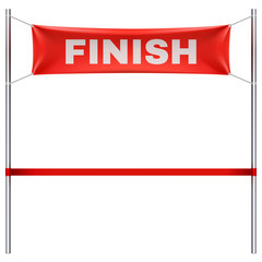 Finish line with red textile banner and ribbon vector illustration isolated on white background