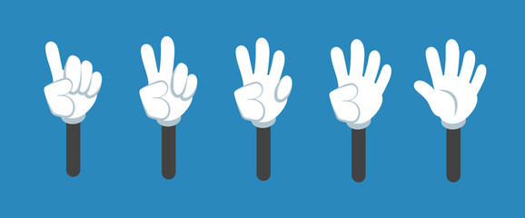 Cartoon counting hand with number gestures isolated set. Countdown with fingers vector symbols