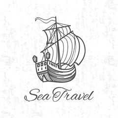 Fotomurales - Antique travel ship on grunge background. Sea travel banner design