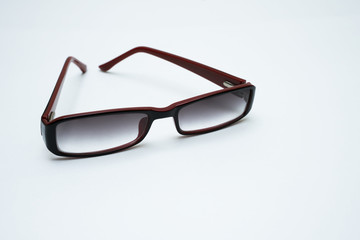 Bifocal glasses on white background