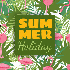 Summer holidays card design with tropical plants and flamingo