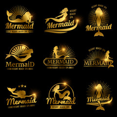 Golden mermaid labels. Shiny resort beach spa logos design
