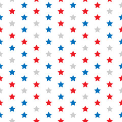 Red, gray and blue stars. Seamless pattern. Vector background.