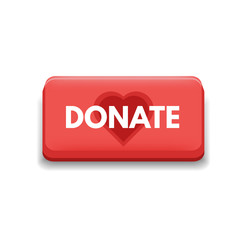 Donation icon red button  with heart concept. Vector illustration.