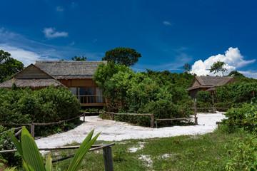 Wooden beach hut on Koh Rong Samloem Island, Cambodia. Saracen Bay.