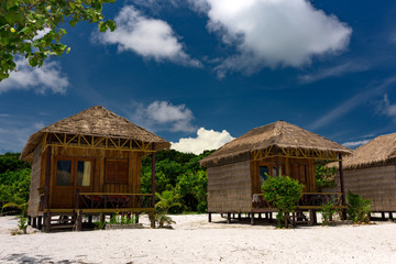 Wooden beach hut on Koh Rong Samloem Island, Cambodia. Saracen Bay.