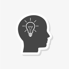 Human head with light bulb sticker, simple vector icon