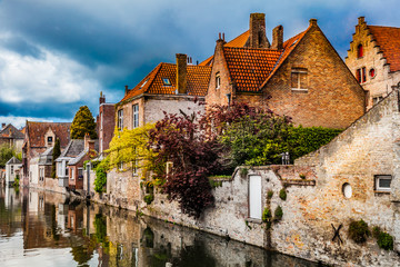 Foto auf Leinwand Brugge Architecture of Bruges city, traditional houses view on the canal