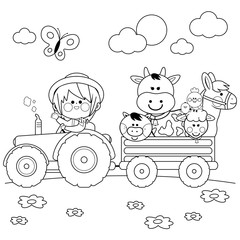 Farmer boy driving a tractor and carrying farm animals. Black and white coloring book page
