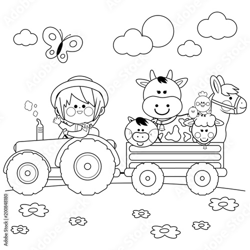 Farmer boy driving a tractor and carrying farm animals. Black and ...