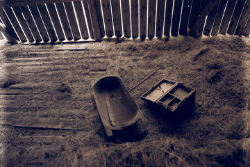 Vintage tools in abandoned shed