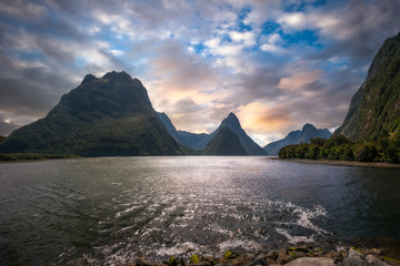 Epic Sunset at Milford Sound, a fiord in the southwest of New Zealand's South Island