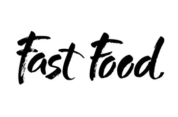 Fast food lettering element. Hand drawn inscription. Modern brush calligraphy. Isolated on white background.