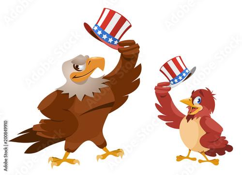 Cartoon Sparrow and American eagle raise their patriotic